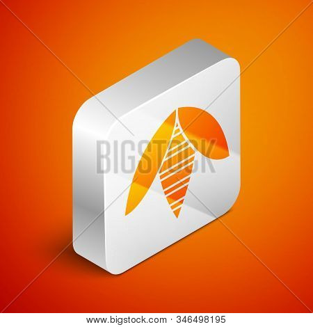 Isometric Bee Icon Isolated On Orange Background. Sweet Natural Food. Honeybee Or Apis With Wings Sy
