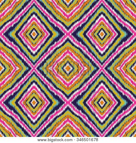 Indigo Geometric Shibori Vector Seamless Pattern. Repeat Ikat African Design. Navajo Psychedelic Orn