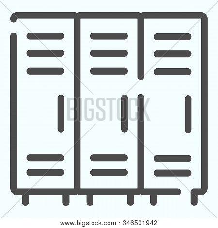 Lockers Line Icon. Three Little Lock Doors Of Cloakroom Vector Illustration Isolated On White. Dress