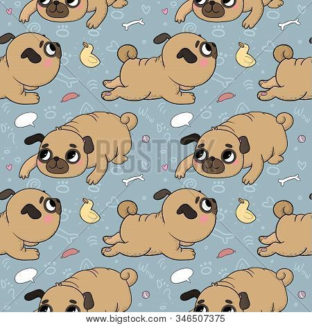 Cute Cartoon Pug Pattern. Cheerful Funny Dog Picture For The Veterinarian. Vector