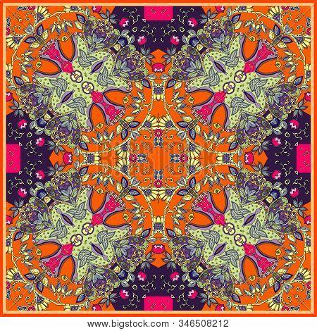 Bright Bandana Print. Square Kerchief Design With Decorative Ornament. Scarf, Rug, Carpet, Pillowcas
