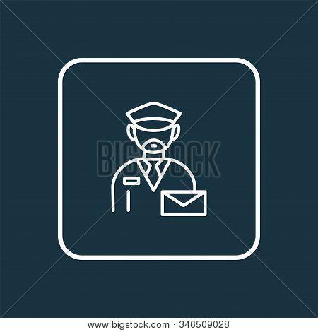 Postman Icon Line Symbol. Premium Quality Isolated Mailman Element In Trendy Style.