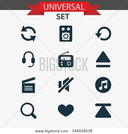 Media Icons Set With Replay, Earphone, Quarter And Other Tuner Elements. Isolated Vector Illustratio