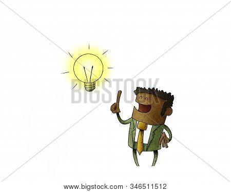 Funny Illustration Of A Black Man Who Has A Lit Bulb Above His Head. Creativity Concept. Isolated