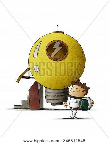 Man Dressed As An Astronaut Next To A Rocket Shaped Like A Light Bulb That Is Going To Take Off. Con