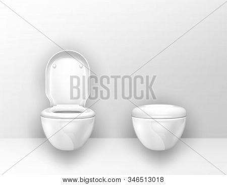 Toilet Bowls Mounted On Wall In Wc. Vector Realistic Interior Of Empty Restroom, Modern Lavatory Wit
