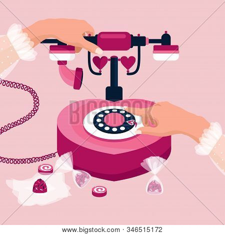 February 14 Valentines Day Concept. The Girl Wants To Call Her Lover. Heart Shaped Retro Telephone W