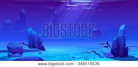 Ocean Or Sea Underwater Background. Empty Sandy Bottom With Seaweeds Grow At Rocks And Air Bubbles F