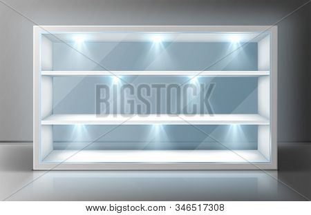 Showcase With Glass Wall, White Shelves And Spotlights. Vector Realistic Mockup Of Empty Display Sta