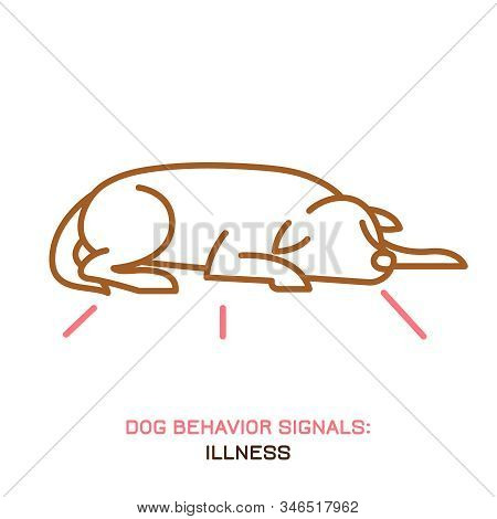 Dog Behavior Signal Icon. Domestic Animal Or Pet Tail Language. Dog Is Ill. Sick Doggy Reaction. Sim