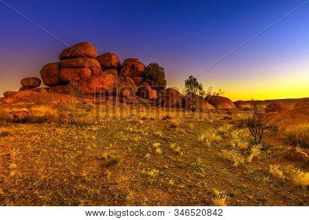 Devils Marbles Rock Formations At Twilight. Australian Outback Landscape Karlu Karlu - Devils Marble
