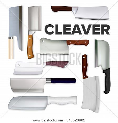 Cleaver Large Meat Knife Collection Set Vector. Different Form And Style Chef Cleaver With Sharp Ste