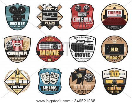 Movie, Film And Cinema Vector Icons. Film Production Studio, Movie Festival, Night Cinema Premier, T