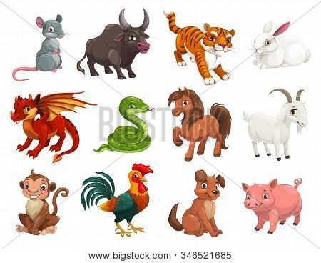 Chinese Lunar New Year Animals, Zodiac Horoscope Cartoon Vector Characters. Cute Rat Or Mouse, Drago
