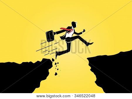 Businessman Jump Through The Gap Obstacles Between Two Giant Rock. Running And Jump Over Giant Rock.