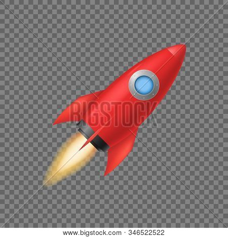 Realistic 3d Detailed Red Rocket Space Ship On A Transparent Background Symbol Of Business Start Up.