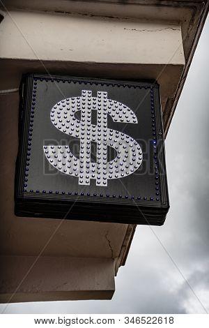 Dollar Symbol At Bureau De Change For Tourists