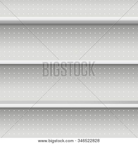 Realistic 3d Detailed White Blank Supermarket Shelves Seamless Pattern Background . Vector Illustrat