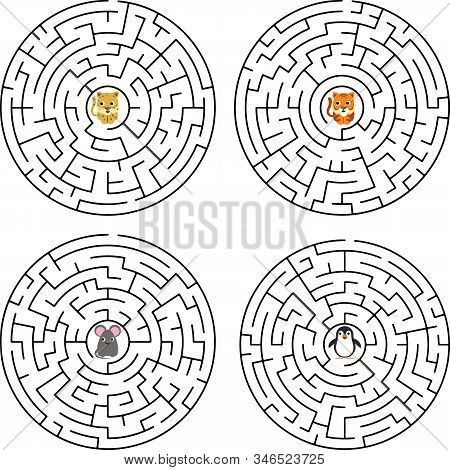 Cute Dog S Maze Game Help Dog To Find His Love Maze Puzzle With Solution. Vector Illustration