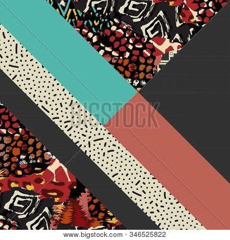 Background With Geometric Shapes, The Design Of The 80s - Vector Illustration. In Retro Memphis Grou