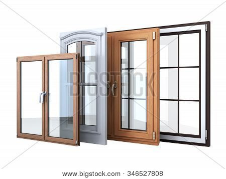 Different Tipes Of Window Sale Promotion Background 3d Render On White No Shadow