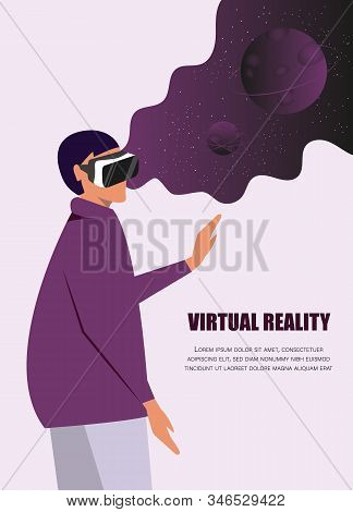 Virtual reality concept.Enthusiastic young girl uses virtual reality goggles and gets into space. Virtual reality Space simulator for the study of astronomy.Using virtual reality for education.Future technology, virtual reality. Vector virtual reality