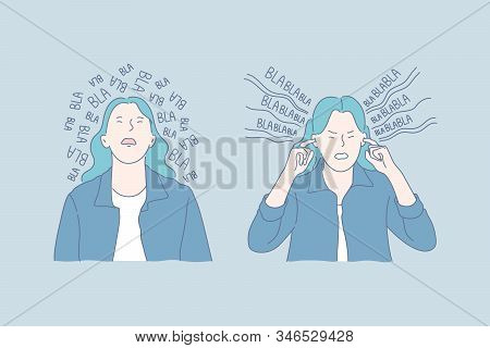 Mental Health, Gossip, Stress Set Concept. Young Woman Is Tired Of Gossips All Around And Plugs Her