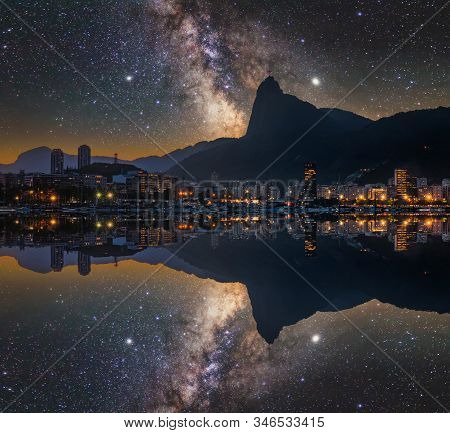 Beautiful Panorama Of Rio De Janeiro At Night, Brazil. Corcovado. Statue Of Christ The Redeemer