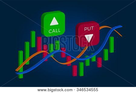 Binary Option - Call And Put Buttons With Up And Down Arrows And Price Candles Chart. Currency Excha