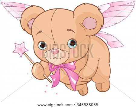 Flying cute teddy bear with magic wand