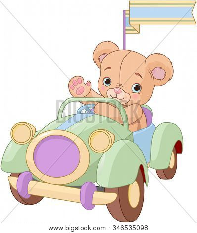 Teddy Bear sitting in the green Toy Car