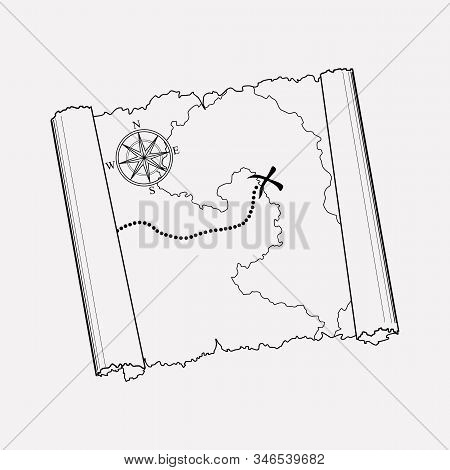 Old Treasure Map Icon Line Element. Vector Illustration Of Old Treasure Map Icon Line Isolated On Cl