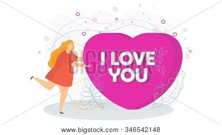 Woman Holds A Huge Heart. I Love You. Search For A Partner, Lover. Date Invitation. A Romantic Offer