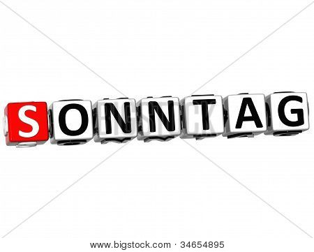 3D Sunday In German Language Button Click Here Block Text
