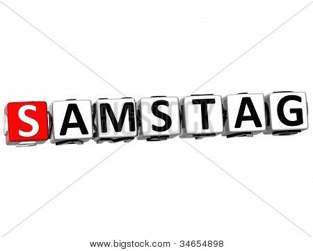 3D Saturday In German Language Button Click Here Block Text