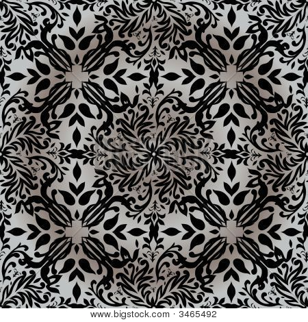Silver and white floral inspired background with repeat design poster