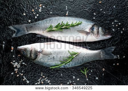 Fresh Fish Sea Bass. Raw Sea Bass Fish With Spices And Herbs Ingredients On Concrete.