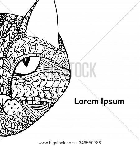 Cat Doodle, Lorem Ipsum Background. Hand Drawn Art Graphic Ink Monochrome Art Design Element Stock V