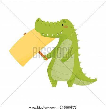 Cute Toothy Crocodile Holding Blank Banner Sign Vector Illustration