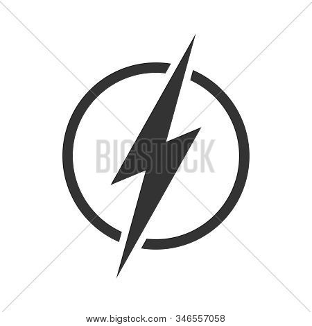 Lightning Bolt In The Circle Graphic Icon. Energy Sign Isolated On White Background. Electric Power