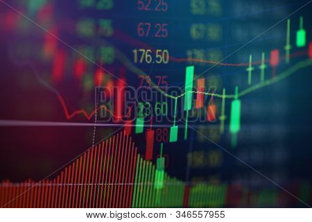 Stock Market Exchange Graph Price With Investment Of Business Financial Digital Background / Candle