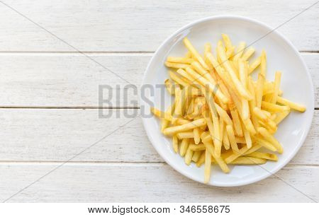 Tasty Potato Fries For Food Or Snack / Fresh French Fries On White Plate Delicious Italian Meny Home
