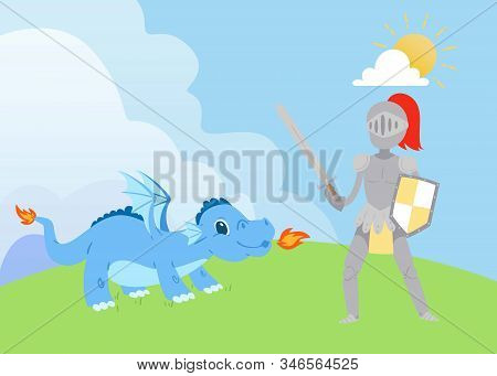 Knight Or Swordsman Fighting With Fierce Dragon Breathing Fire Vector Cartoon Illustration. Legendar
