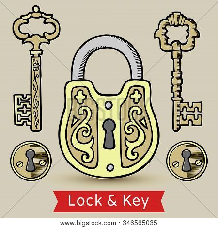 Vintage Decorated Keys Lock And Keyholes Isolated Vector Illustration. Antique Lock And Keys And Key