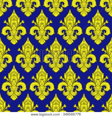 Seamlessly Tiling Red Fleur-de-lis Pattern On A Dark Background - Perfect For Luxury Designs As Wall