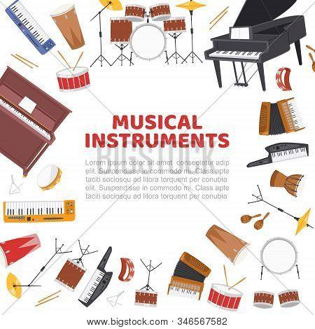 Musical Instruments Frame For Live Music Concert Vector Poster Illustration. Design Of Drums, Jazz B