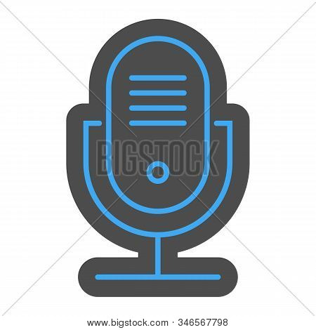 Audio Recording Microphone Icon, Podcasting Symbol Vector Illustration