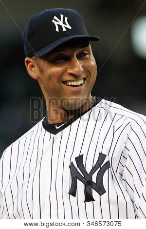 BRONX, NY - MAY 10: New York Yankees shortstop Derek Jeter (2) smiles during the game against the Tampa Bay Rays on May 10, 2012 at Yankee Stadium.