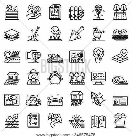Landscape Designer Icons Set. Outline Set Of Landscape Designer Vector Icons For Web Design Isolated
