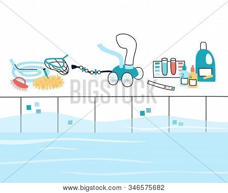 Vector Isolated Illustration Of The Swimming Poo  Care Tools And Equipment. Brush, Vacuum Cleaner, A